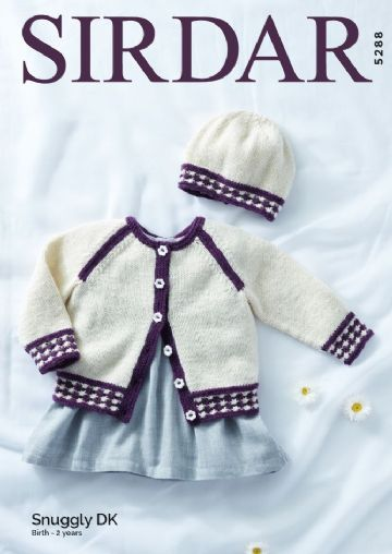Baby Girl's Cardigan & Hat in Snuggly DK Knitting Pattern, Sirdar 5288
